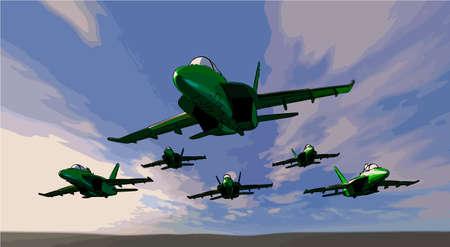 fighter jets like flies Illustration