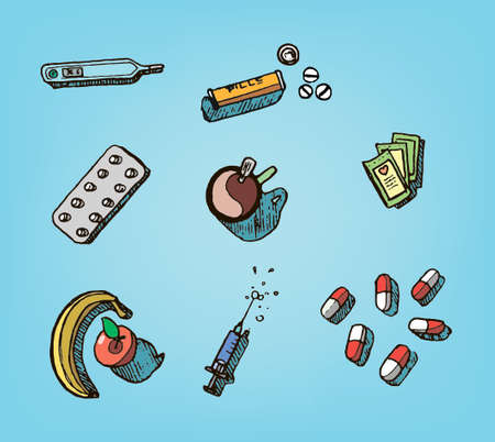 Health hand drawn icons including pills, capsules, tea,syringe and a thermometer