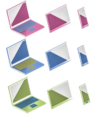 saturated color: computer, phone and tablet icons 3d illustration Stock Photo