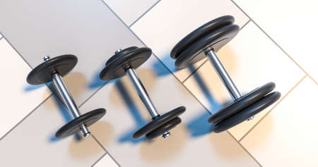 three dumbbells standing in row 3d illustration