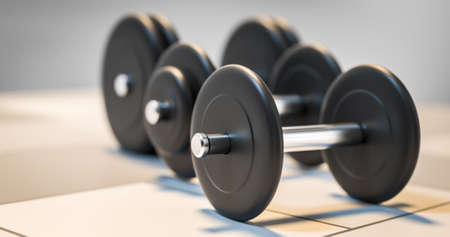 strenght: three dumbbells standing in row 3d illustration