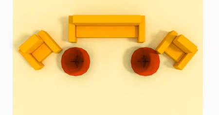 3 d の図の黄色の家具セット 写真素材