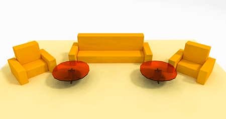 yellow furniture set 3d illustration Фото со стока