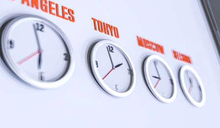 흰 벽에 많은 시계가 3d 일러스트