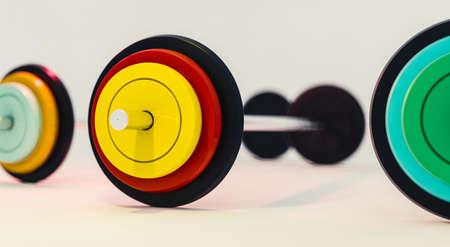 3d illustration of colorful gym barbells