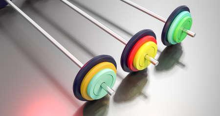 3d illustration of colorful gym barbells Banco de Imagens - 81515735