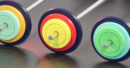 3d illustration of colorful gym barbells Banco de Imagens - 81515736