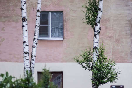 gritty: old russian block of flats Stock Photo