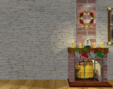 Christmas fire place Banco de Imagens