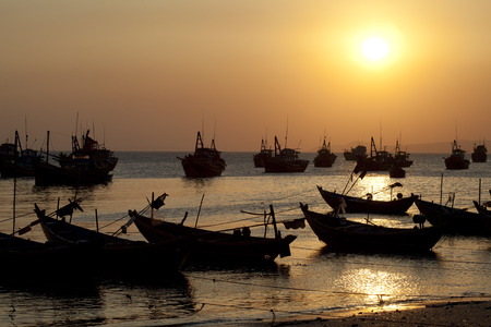 Fishing boats in Mui Ne Vietnam photo