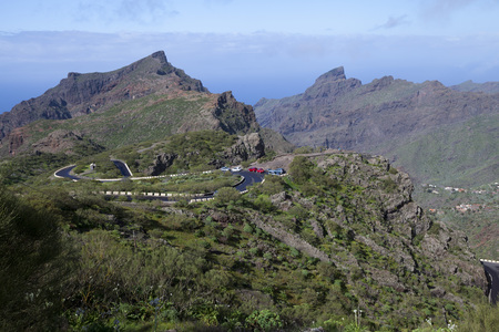 View of Masca village with mountains, Tenerife, Canary Islands, Spain
