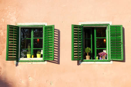old windows: Old windows with flowers