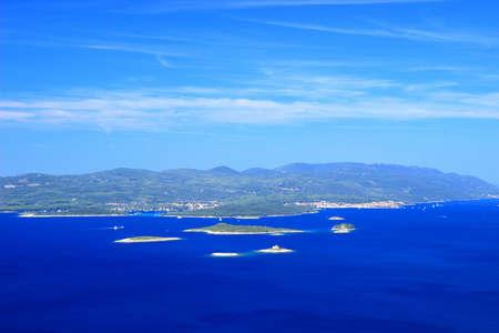 Island Korcula and islets on Adriatic sea in Croatia