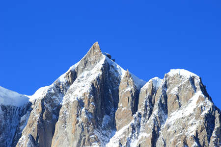courmayeur: Mont Maudit, 4465 meters high peak in Mont Blanc massif Stock Photo