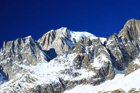 courmayeur: Mt. Blanc with blue sky in background Stock Photo