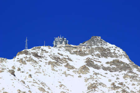 courmayeur: Pointe Helbronner, the highest point of the cable car Skyway Monte Bianco Stock Photo