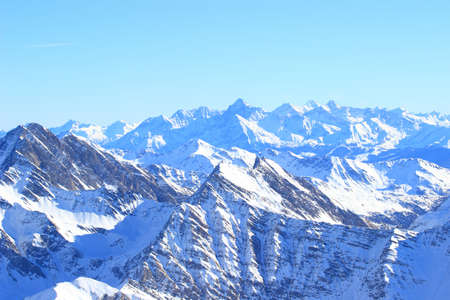 Alpine peaks covered with snow Aosta valley region in Italy