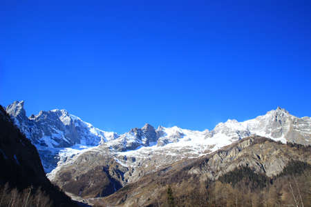 courmayeur: Mont Blanc massif in Alps, Italy-France border Stock Photo