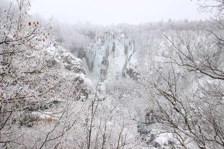 Frozen waterfalls on Plitvice lakes, National park in Croatia