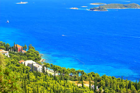 Beautiful coast and blue sea on peninsula Peljesac in Croatia Stock Photo