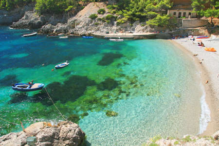 Beach on Island Mljet in Croatia 스톡 콘텐츠