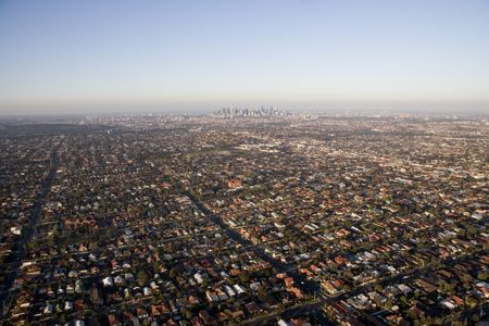 Aerial view of Melbourne and surrounding suburbs