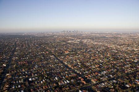land use: Veduta aerea di Melbourne e dintorni periferia Archivio Fotografico