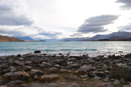 tekapo: lake tekapo turquoise water New zealand Stock Photo