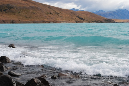 tekapo: lake tekapo turquoise water New zealand Stock Photo