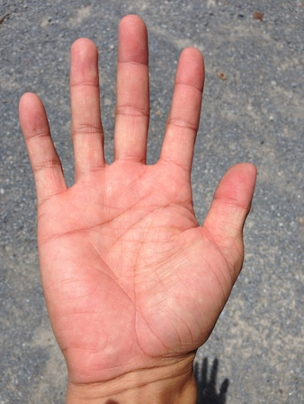 palmistry: Line on hand.The predict the fate of palmistry. Stock Photo