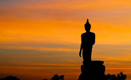 nakhon pathom: The Buddha statue at Phuttamonthon, Nakhon Pathom. It is public place for Buddhist.Siluate