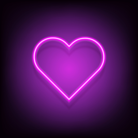 Neon heart vector glowing lamp valentine romance sign decoration love symbol. vintage retro banner, poster template design illusatration
