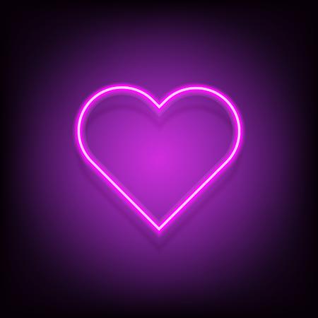 Neon heart vector glowing lamp valentine romance sign decoration love symbol. vintage retro banner, poster template design illusatration