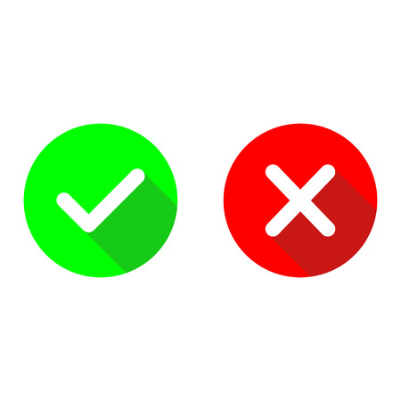 Green Checkmark Ok And Red X Flat Vector Iconsrcle Symbols
