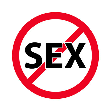 Forbidden sign no sex vector flat icon.  It's warn them not to do.