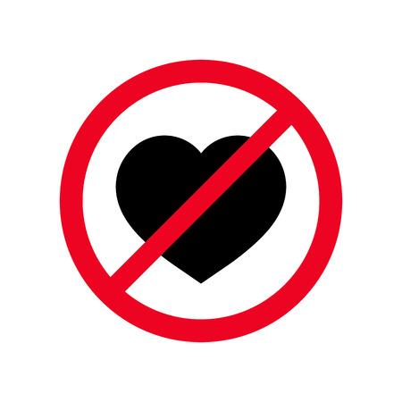 Ningún icono de vector de símbolo plano de corazón. Signo prohibido amor sentimientos concepto aislado sobre fondo blanco ilustración. Ilustración de vector