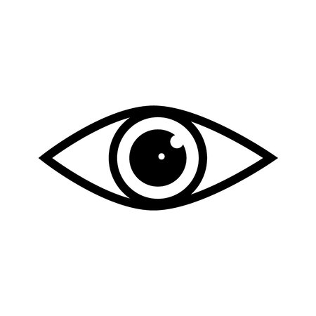 Eye icon vector with double reflection in pupil. Sign of view, look, glance, glimpse, dekko, eyebeam, opinion, eyewink, peek and eye.