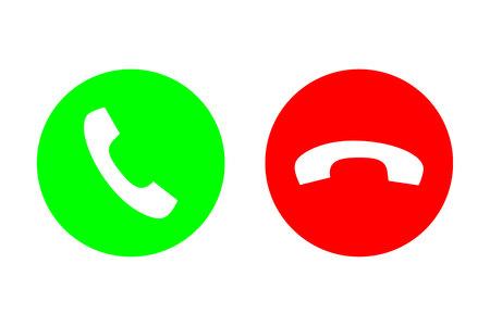 Icono plano de vector de llamada telefónica con botón verde de llamada o respuesta y botón rojo para colgar o rechazar. Diseño para sitio web, aplicación móvil. Ilustración de vector