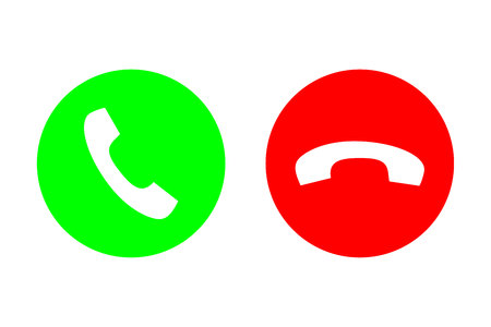 Phone call vector flat icon set with green call out or answer button and red hang up or decline button. Design for website, mobile app. Vectores