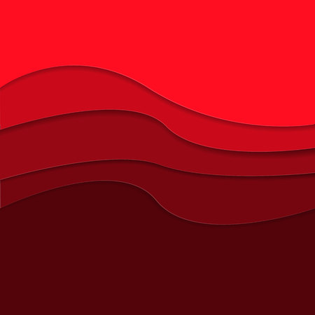 Red background with paper cut shapes. Vector illustration.