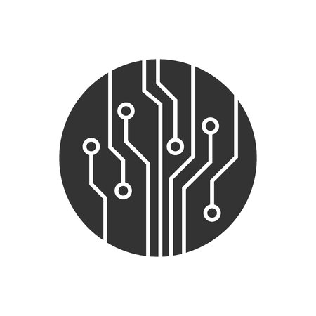 Circuit imprimé, icône de vecteur de technologie. Pour la conception de votre site Web, logo, application, interface utilisateur. Illustration vectorielle Logo
