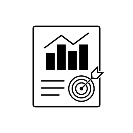 Metrics report  vector icon. Document with chart symbol. Accounting concept for your web site design, logo, app, UI. illustration
