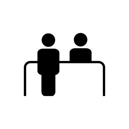 Ikona wektor biurka obsługi klienta. Symbol odbioru dla projektu graficznego, logo, strony internetowej, mediów społecznościowych, aplikacji mobilnej, interfejsu użytkownika Logo