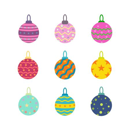 Christmas balls set vector illustration for graphic design, logo, web site, social media, mobile app, ui Ilustrace