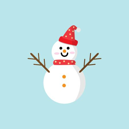 Snowman icon vector illustration in flat style. Christmas and New Year elements for decoration