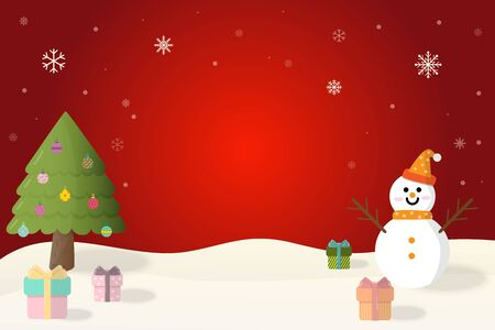 Merry Christmas and Happy New Year snowman, christmas tree and christmas gift in winter on red background.