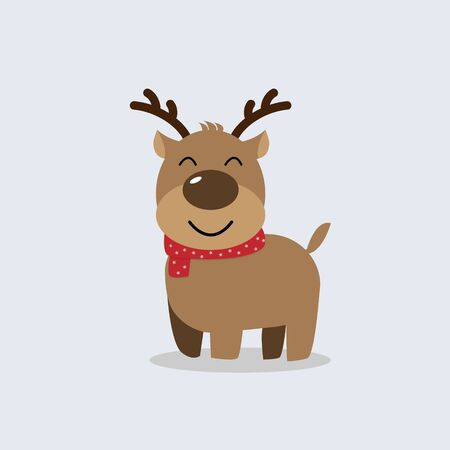 Cute raindeer cartoon vector. Greeting card for Merry Christmas and Happy New Year. illustration. Illustration
