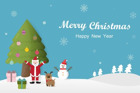 Merry Christmas and Happy New Year snowman, christmas tree and christmas gift in winter on blue background.