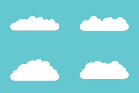 Set of cloud icons in flat style isolated on blue background for your web site design, logo, app, UI. Vector illustration
