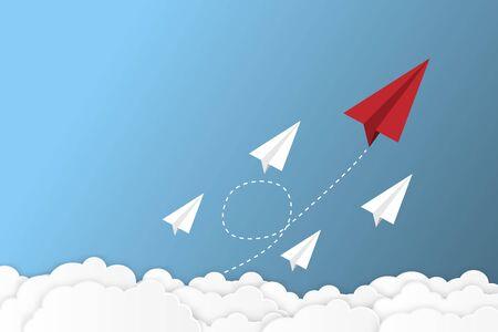 Paper plane go to success goal vector business financial concept start up, leadership, creative idea symbol paper art style Ilustrace